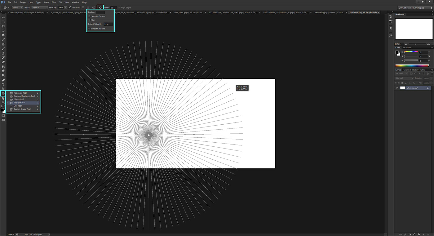 Create a perspective grid by using the Star setting on the Polygon tool to make a vanishing point