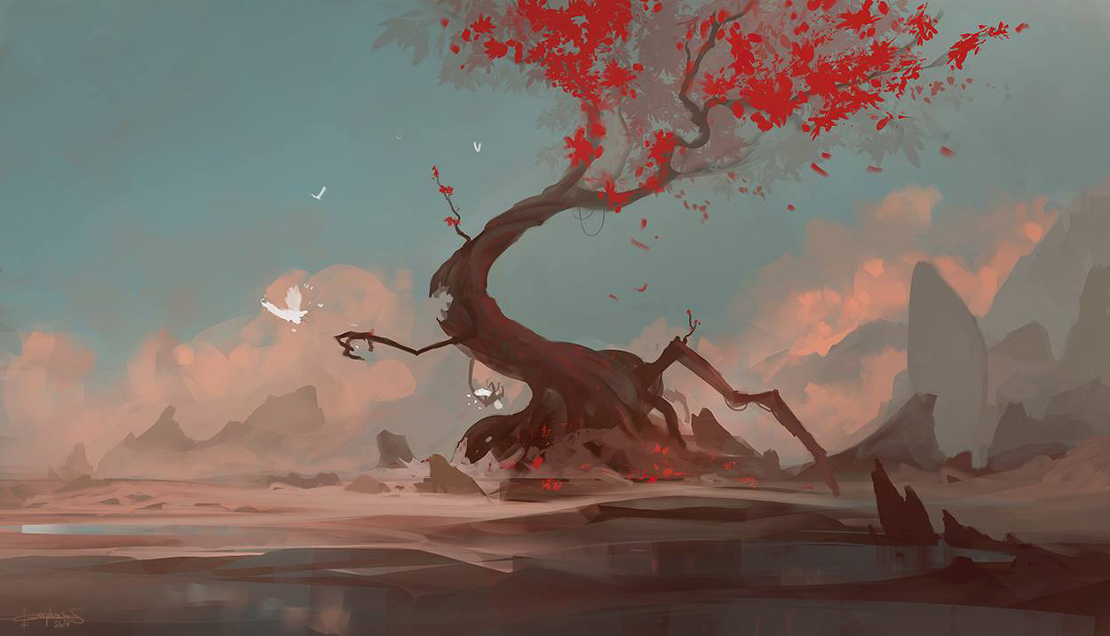 'Grumpy Red Tree' was made as a demo for students over at New 3dge © Geoffrey Ernault