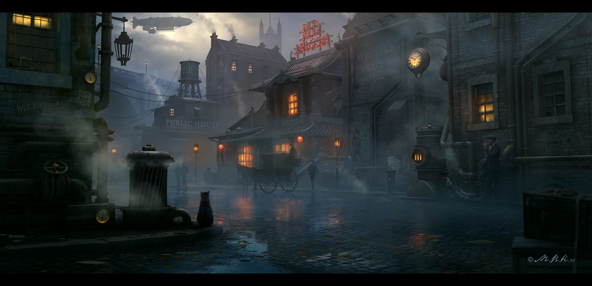"""Steampunk town, Red Dragon"" © Vladimir Manyukhin"