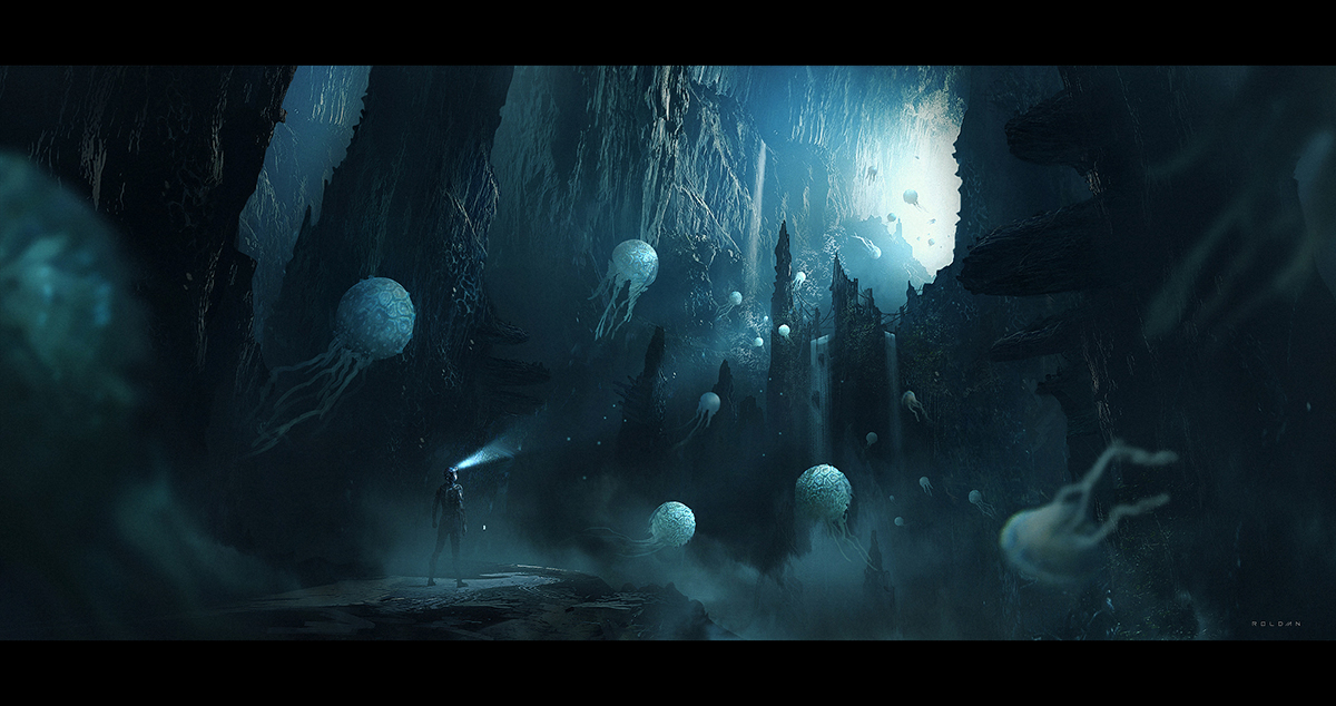 This concept was made after a short travel to some caves near to Juan's city. After the initial composition, he decided to integrate a couple of imaginary jellyfish to give a sci-fi context to the image