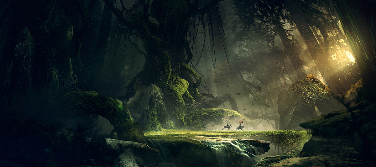 In this artwork, Juan wanted to show two knights crossing a deep forest with a giant magic tree