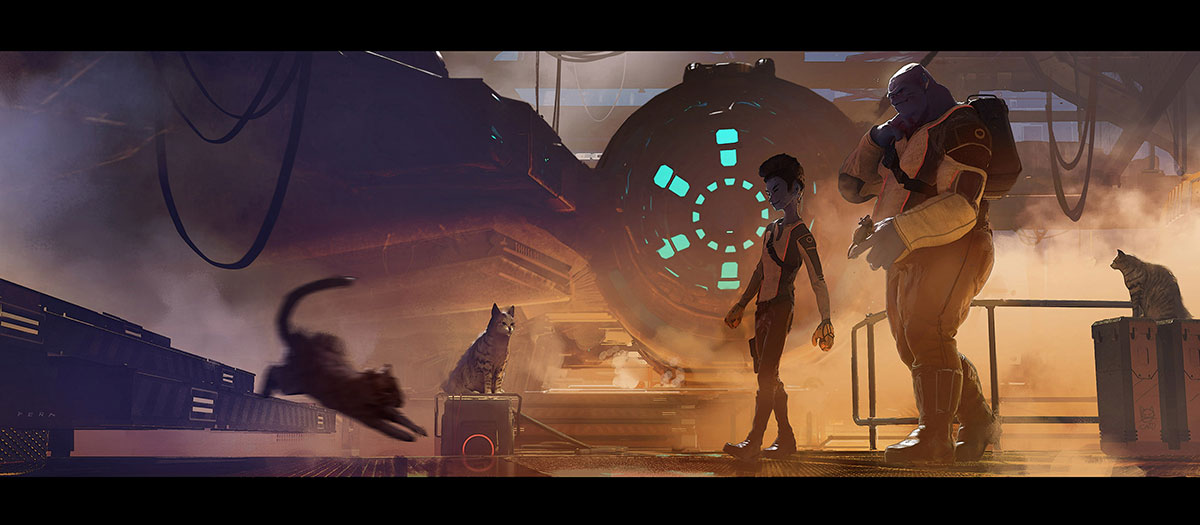 An image for a personal space opera adventure Eduardo is working on called 'BOLO & KATO'