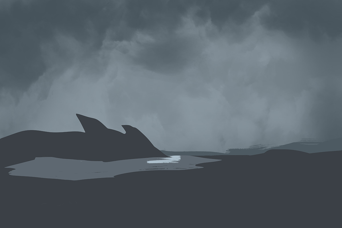 Add a dark foreground with an opening and a lighter background layer